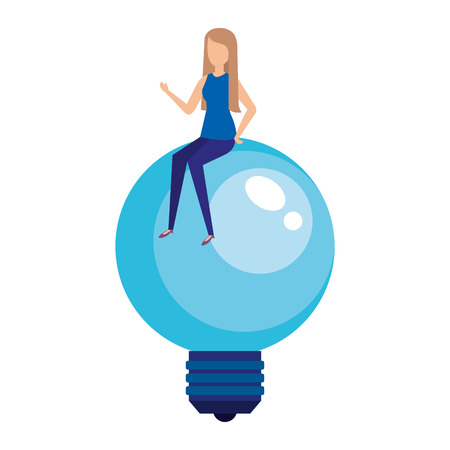 bulb light idea with mini woman vector illustration design