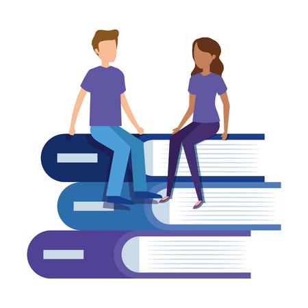 pile text books with mini couple vector illustration design Illustration