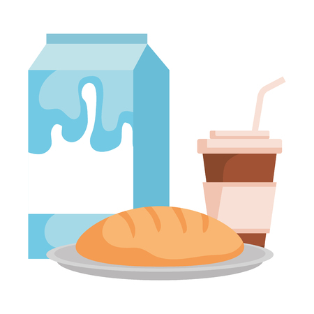milk box with bread and coffee vector illustration design