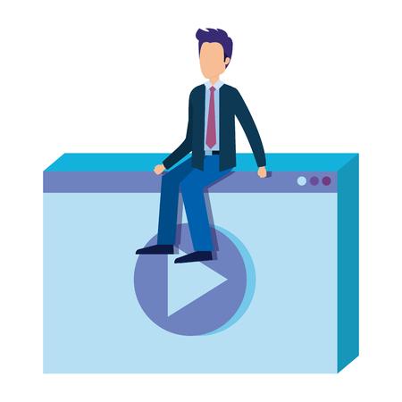 media player with mini businessman vector illustration design Ilustração
