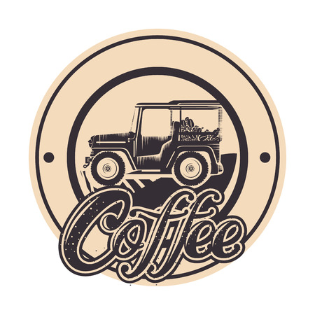 warranty seal original coffee with car vector illustration design Ilustrace