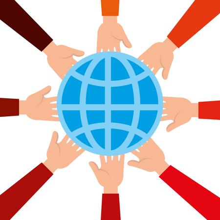 community hands with planet vector illustration design Illustration