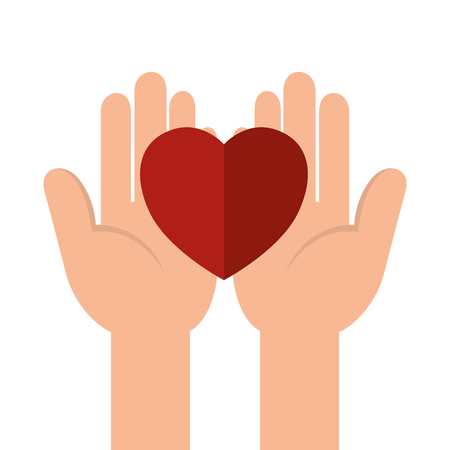 hands with heart charity icons vector illustration design
