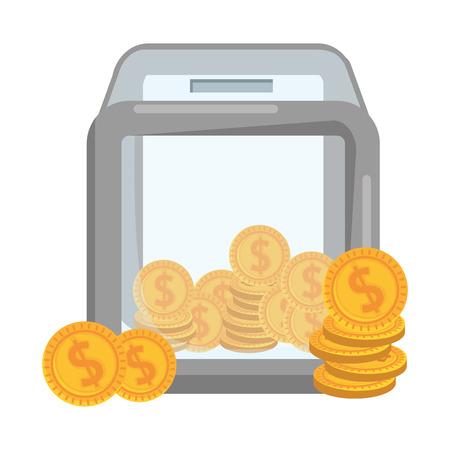 donation box with coins vector illustration design Illusztráció