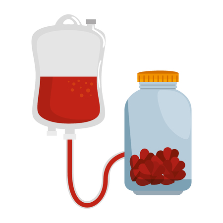 blood donation bag with jar and hearts vector illustration design