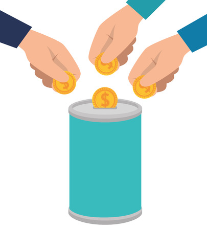 hands donating coins in pot vector illustration design Ilustrace