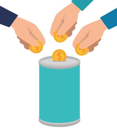 hands donating coins in pot vector illustration design Vettoriali