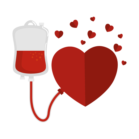 blood donation bag and hearts vector illustration design Vettoriali