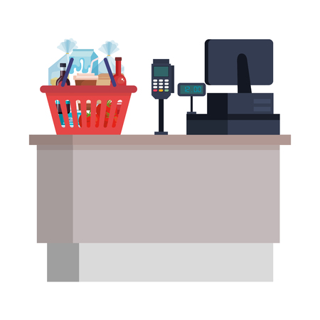 supermarket sale point with basket and groceries vector illustration Banque d'images - 109896120