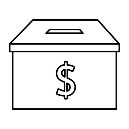 donation box with money symbol vector illustration design Illustration