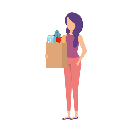 woman with supermarket shopping bag and groceries vector illustration Stock Vector - 109896128