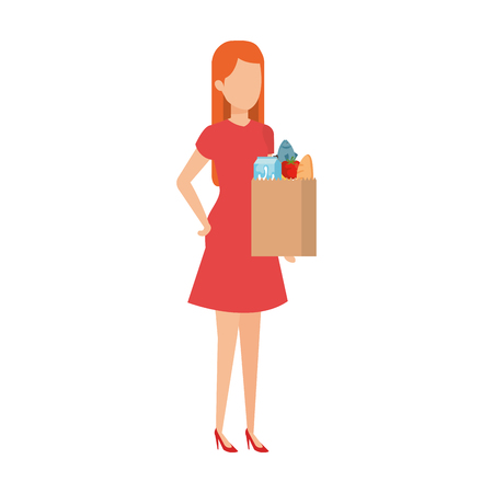 woman with supermarket shopping bag and groceries vector illustration Ilustração