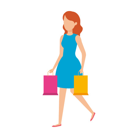 beautiful and young woman with shopping bags vector illustration