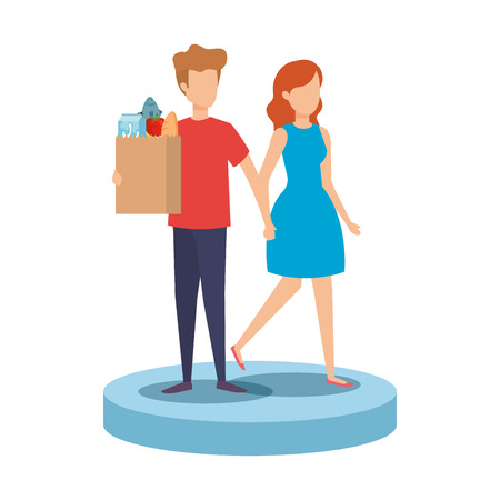 couple with supermarket shopping bag and groceries vector illustration