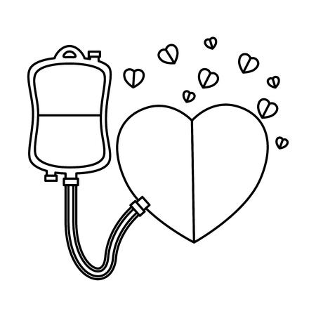 blood donation bag and hearts vector illustration design Çizim