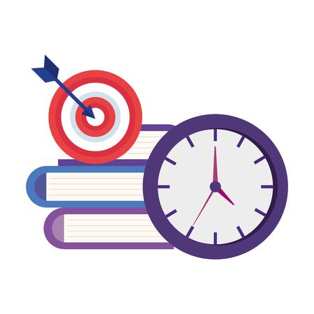 time clock with books and target vector illustration design Vektoros illusztráció