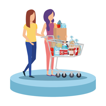 women with shopping cart and groceries vector illustration design