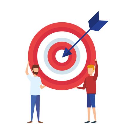mini men lifting target with arrow vector illustration design Vektoros illusztráció