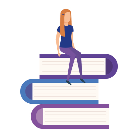 mini woman in pile text books vector illustration design