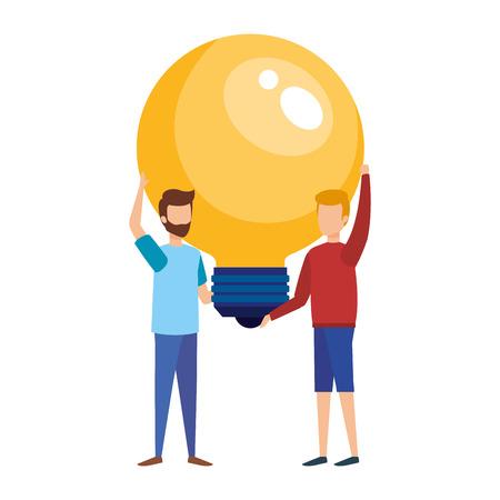 mini men with bulb light idea vector illustration design Illustration