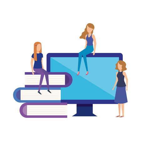 min girls with computer monitor vector illustration design