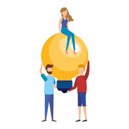 mini people with bulb light idea vector illustration design