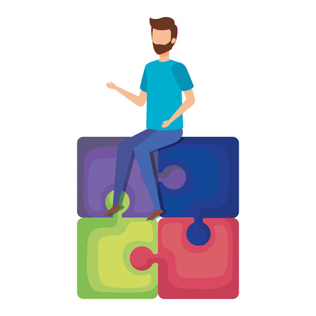 mini man sitting in puzzle piece vector illustration design Illustration