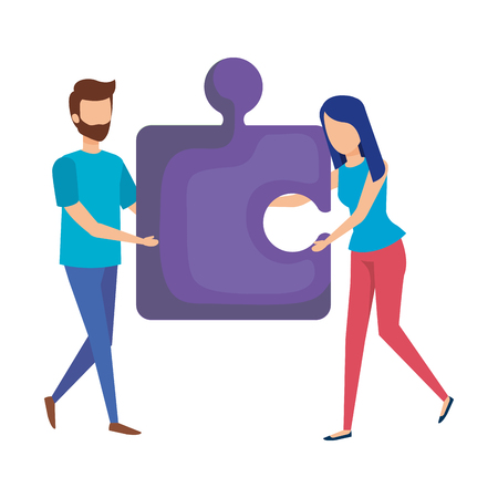 couple with puzzle piece vector illustration design Illustration