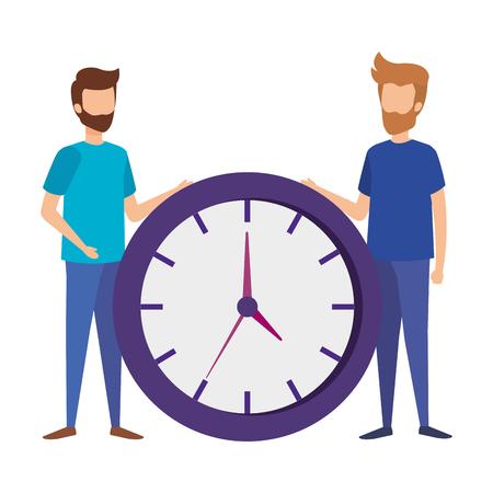 mini men with time clock vector illustration design Archivio Fotografico - 109896183