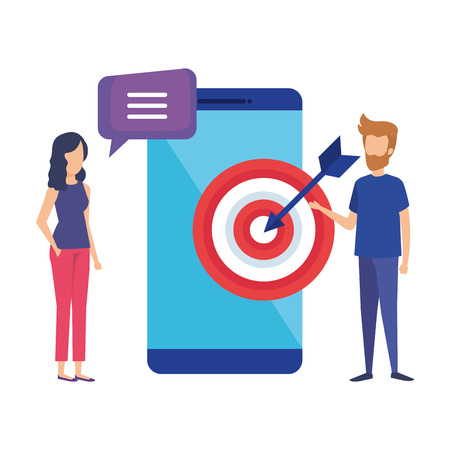 smartphone with target success and mini couple vector illustration Banque d'images - 109896182