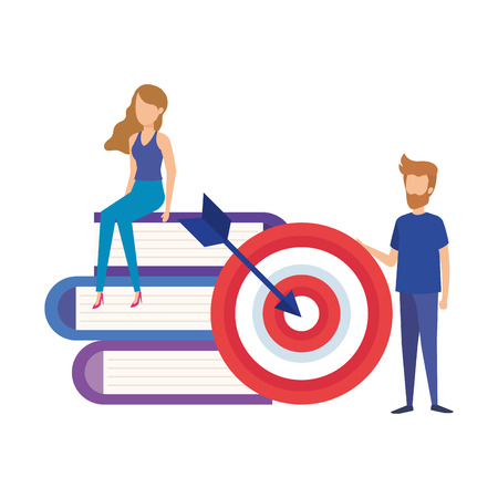 mini couple with pile text books and target vector illustration design Illustration