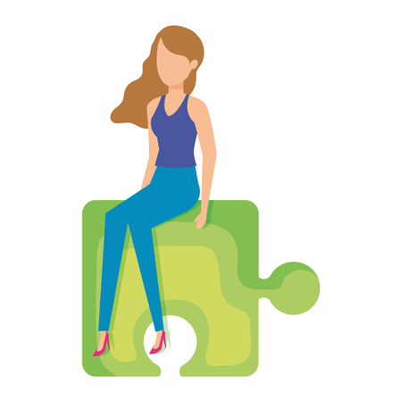 mini woman sitting in puzzle piece vector illustration design