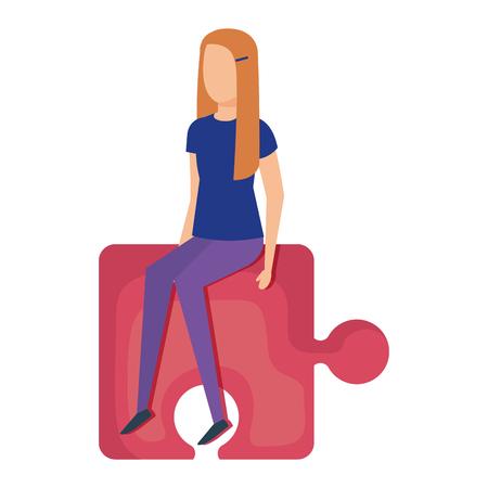 mini woman sitting in puzzle piece vector illustration design