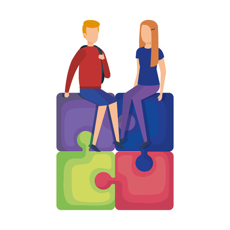 mini couple sitting in puzzle piece vector illustration design