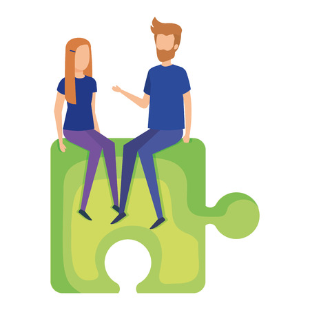 mini couple sitting in puzzle piece vector illustration design