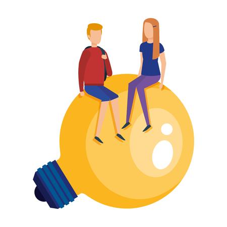 mini couple sitting in bulb light idea vector illustration design