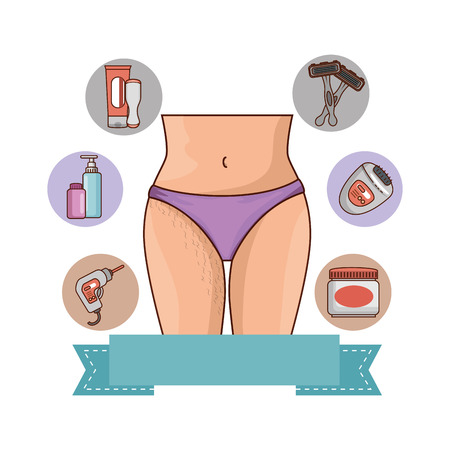 Crotch of woman with hair with set products vector illustration design