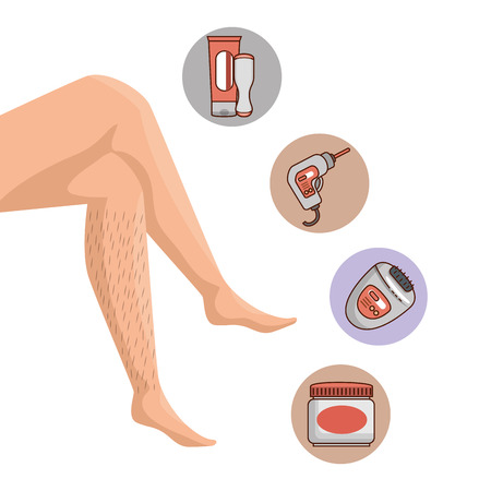 legs of woman with hair and depilation products vector illustration