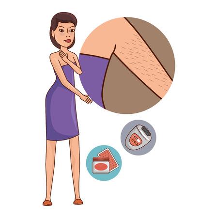 Mujer en toalla depilación axila, diseño de ilustraciones vectoriales