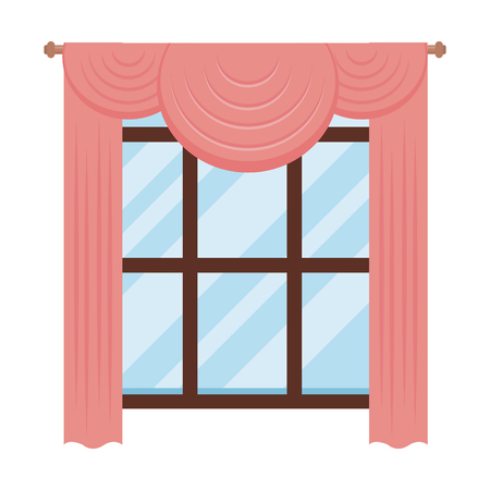 house window with courtain vector illustration design