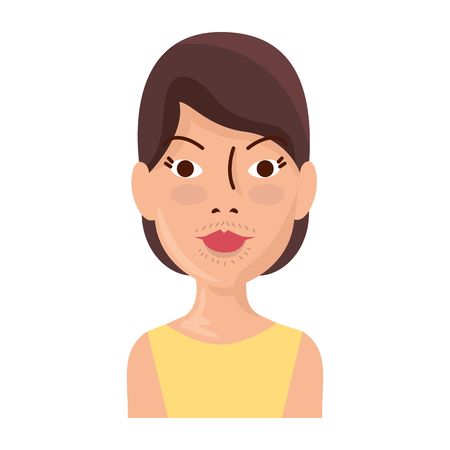 woman with facial hair vector illustration design  イラスト・ベクター素材