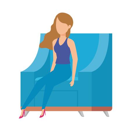 sofa livingroom with womansitting vector illustration design Illustration