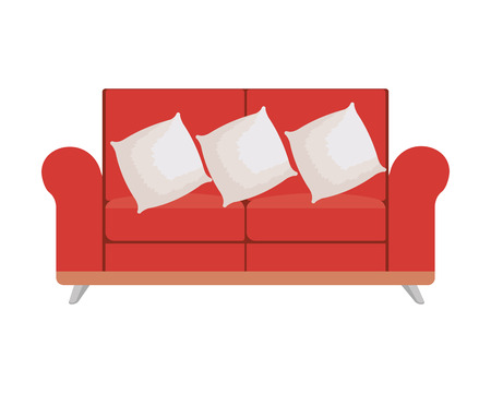 sofa livingroom with pillows vector illustration design