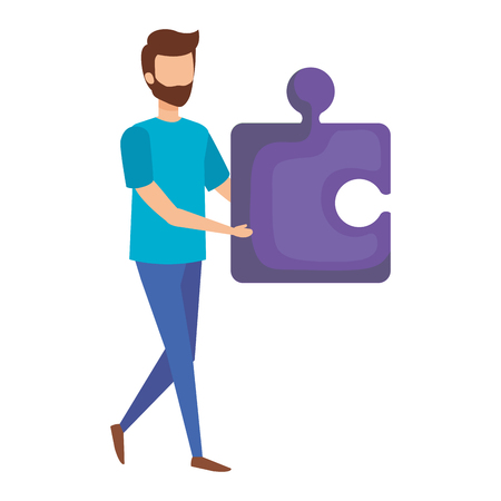 man with puzzle piece vector illustration design