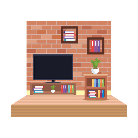 house television room scene vector illustration design Illustration