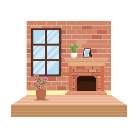 house chimney inside livingroom scene vector illustration design