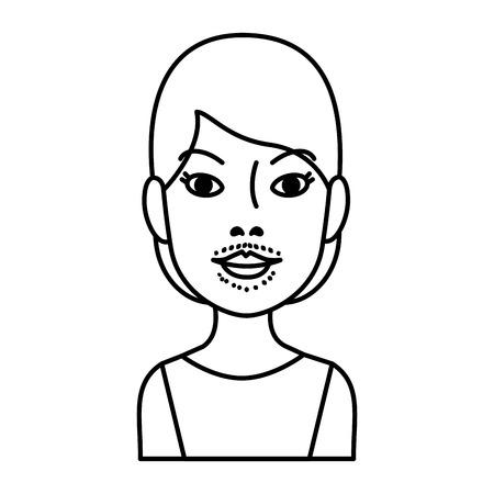 donna con disegno di illustrazione vettoriale di peli sul viso Vettoriali
