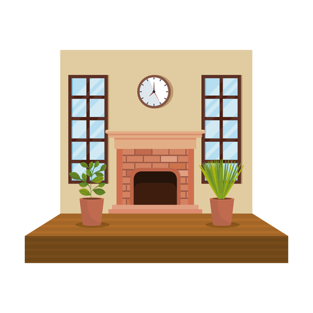 house chimney inside livingroom scene vector illustration design