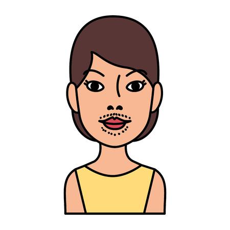 Mujer con vello facial, diseño de ilustraciones vectoriales