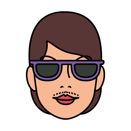 head woman with facial hair with sunglasses vector illustration design